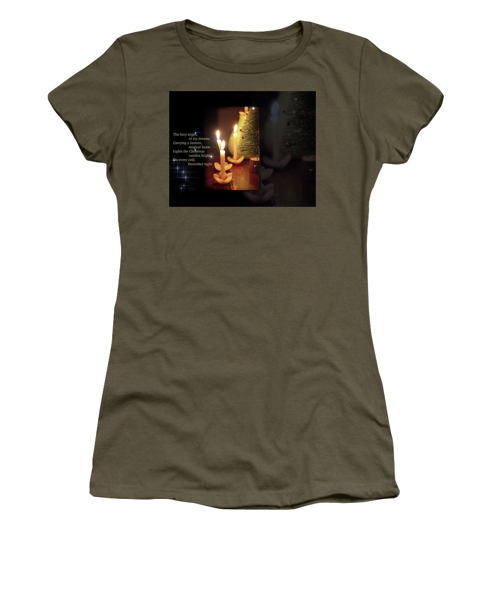 Candles Women's T-Shirt featuring the painting Christmas Candles by Nirdesha Munasinghe