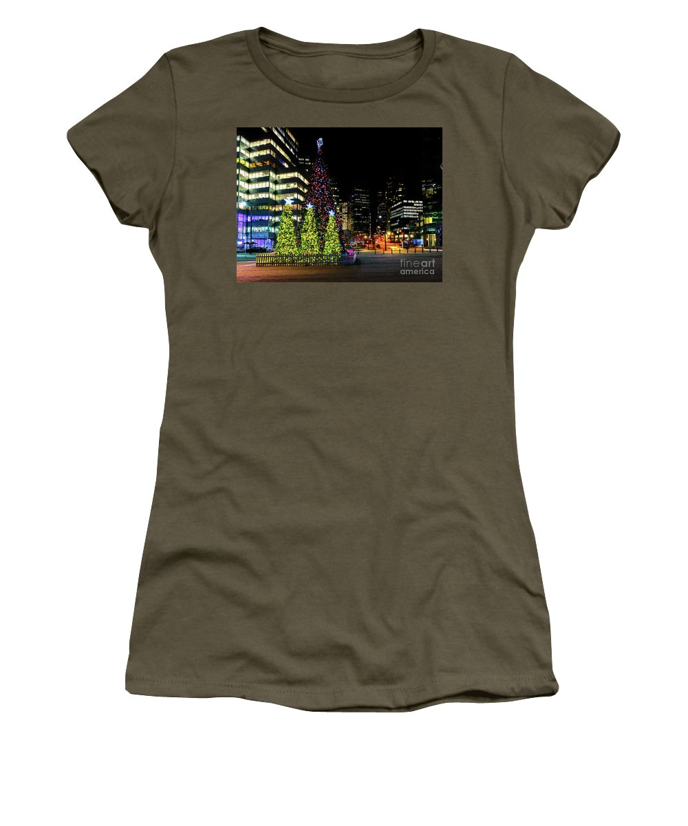 Canada Women's T-Shirt featuring the photograph Christmas Tree On New Year's Eve In The Street Of A Big City by Viktor Birkus
