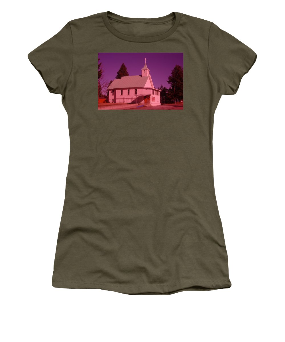 Churchs Women's T-Shirt (Athletic Fit) featuring the photograph Church In Spirit Lake Idaho by Jeff Swan