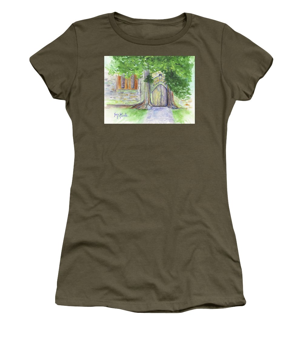 Church Women's T-Shirt featuring the painting Church Trees by Marsha Karle