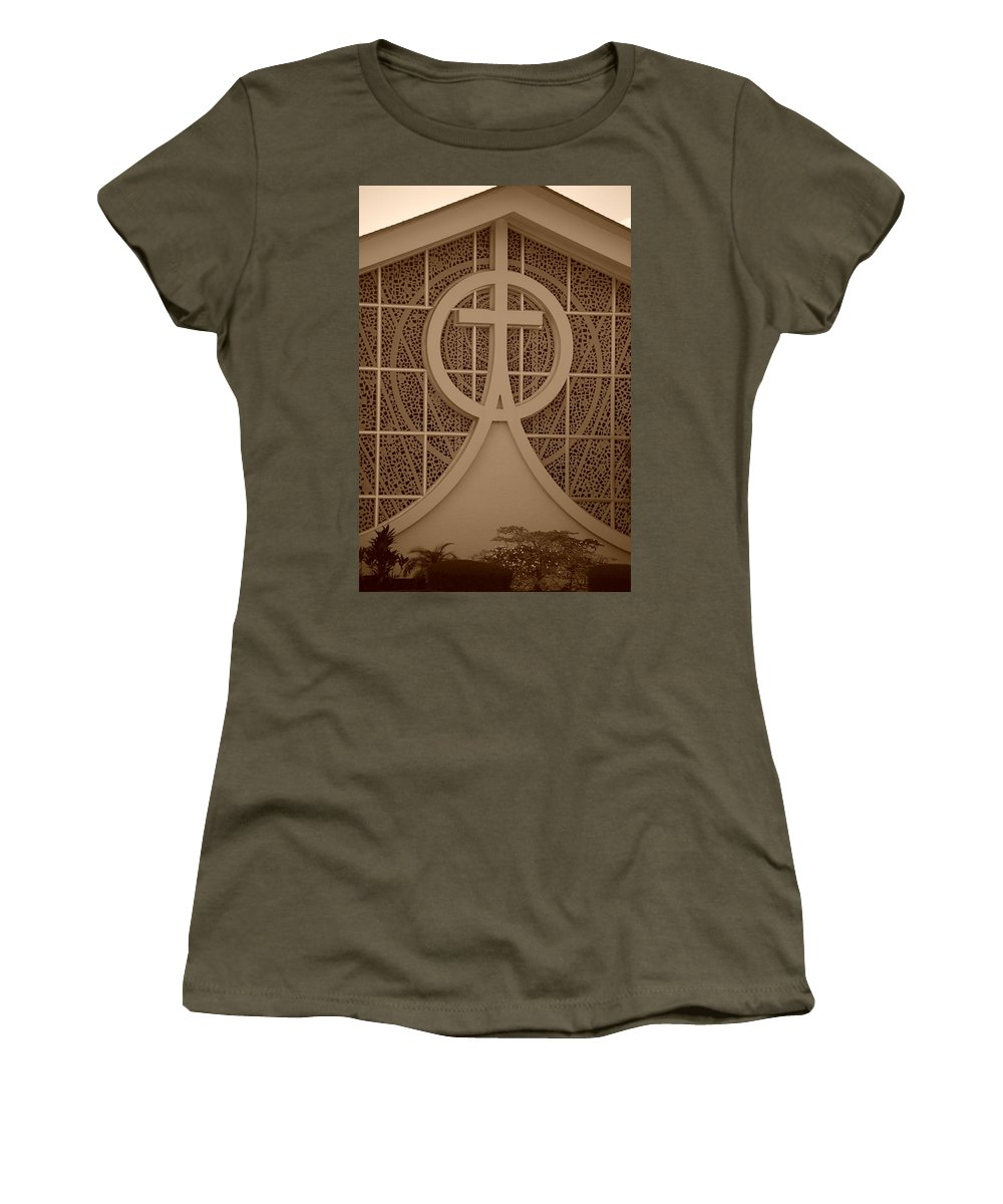 Sepia Women's T-Shirt (Athletic Fit) featuring the photograph Circle T Church by Rob Hans