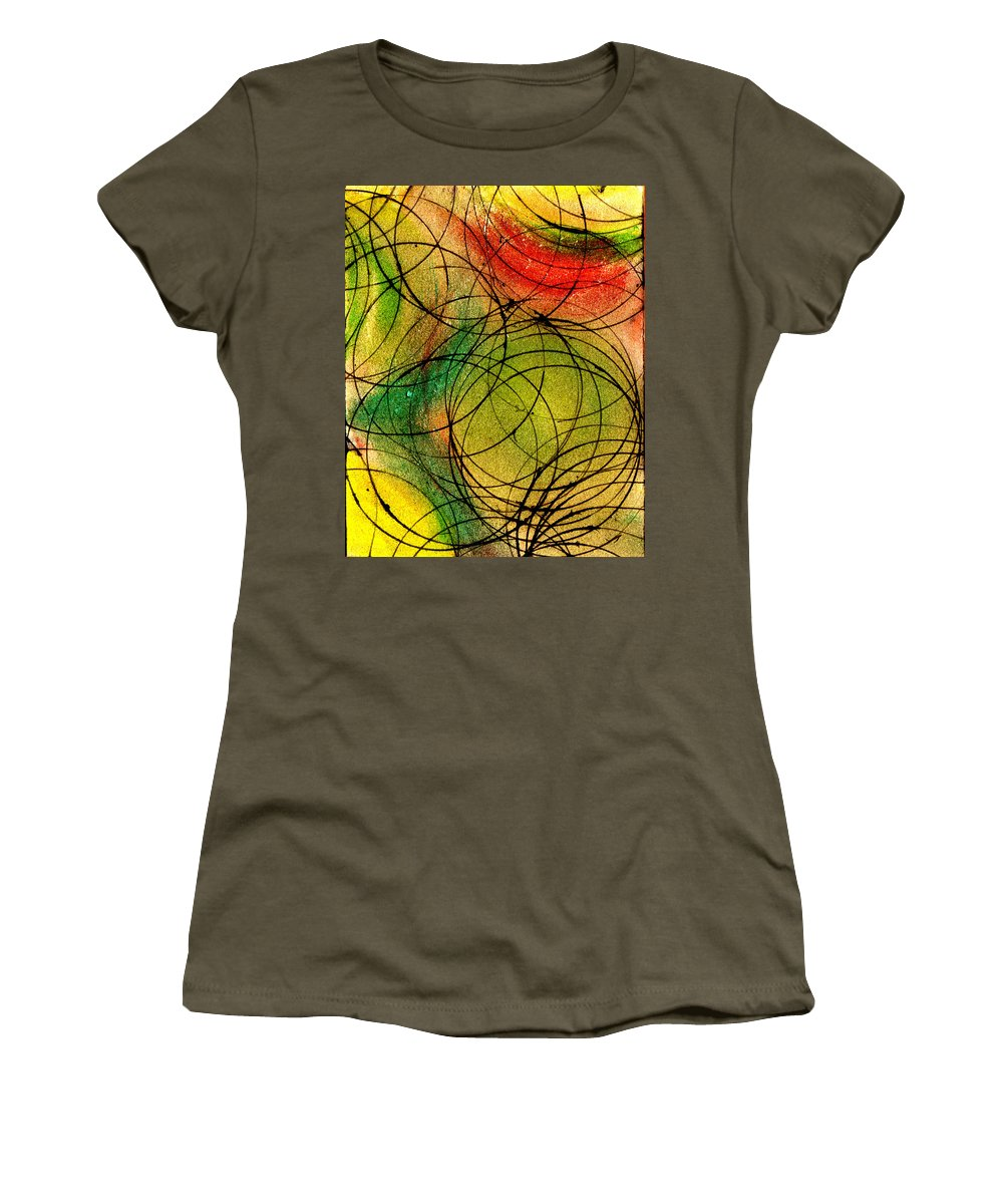 Abstract Women's T-Shirt featuring the painting Circles by Wayne Potrafka