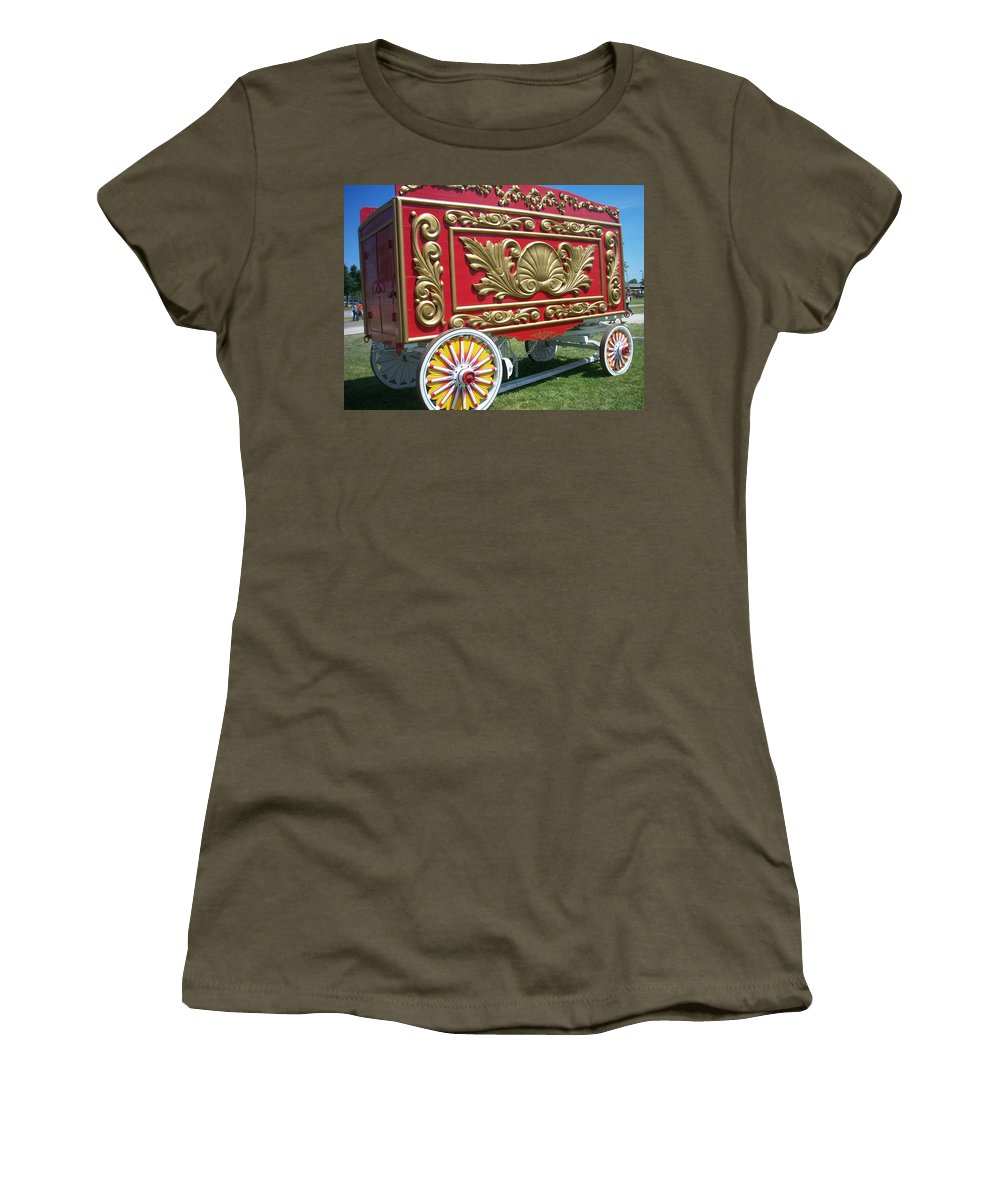 Circus Women's T-Shirt (Athletic Fit) featuring the photograph Circus Car In Red And Gold by Anita Burgermeister