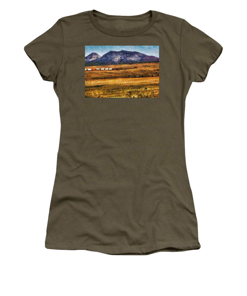 Savad Women's T-Shirt featuring the photograph City - Arizona - Southwestern Cargo Train by Mike Savad