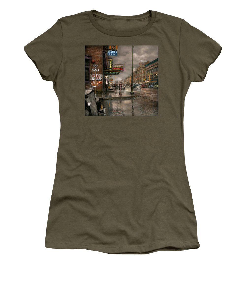 Colorized Women's T-Shirt featuring the photograph City - Amsterdam Ny - Call 666 For Taxi 1941 by Mike Savad