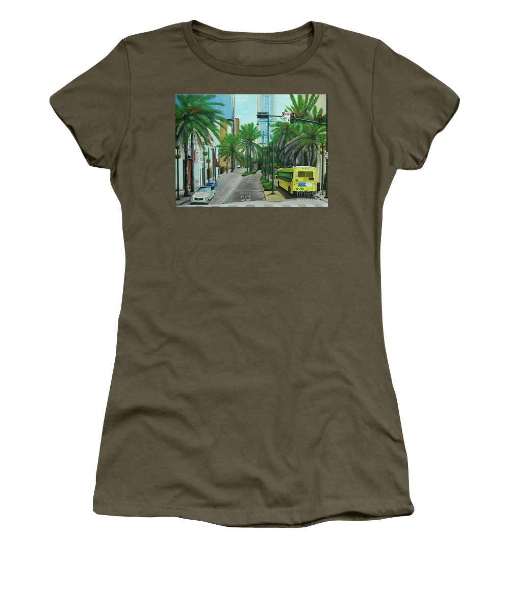 Orlando Scene Women's T-Shirt featuring the painting City Beautiful - Downtown Orlando Fl by Kenneth Harris