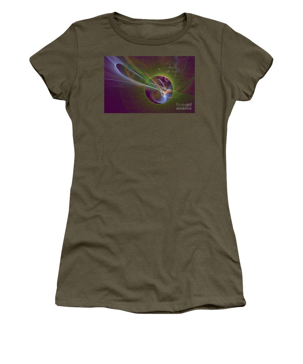 Digital Women's T-Shirt (Athletic Fit) featuring the digital art Clash Of Energy by Deborah Benoit
