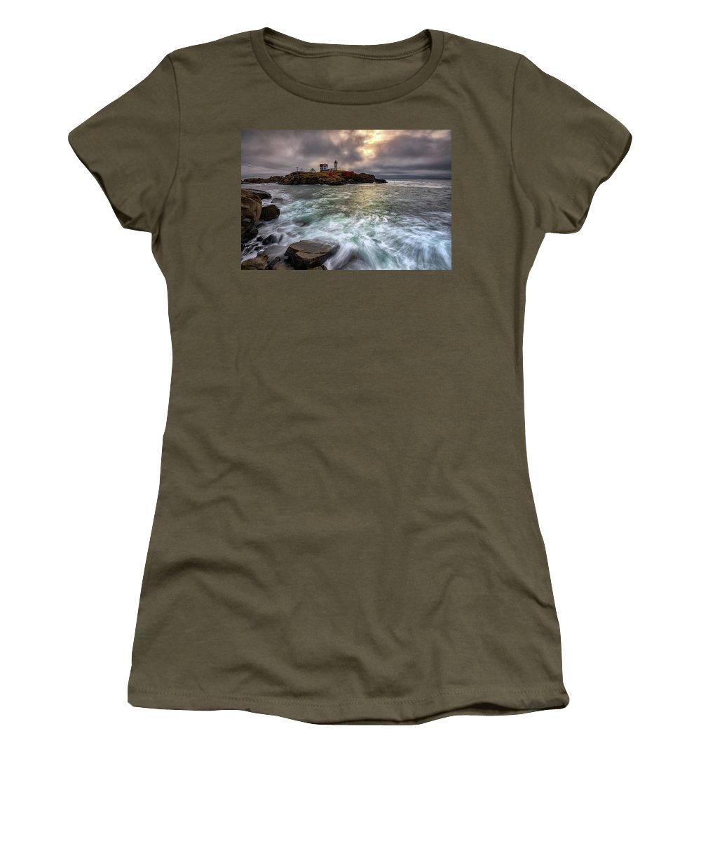 Cape Neddick Women's T-Shirt featuring the photograph Clearing Storm At Cape Neddick by Rick Berk