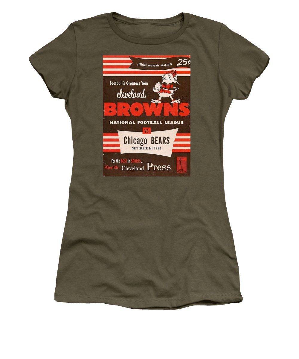 Browns Women's T-Shirt featuring the photograph Cleveland Browns Vintage Program 5 by Joe Hamilton