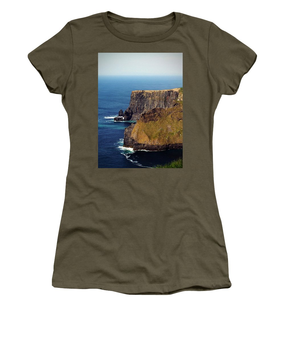 Irish Women's T-Shirt (Athletic Fit) featuring the photograph Cliffs Of Moher Ireland View Of Aill Na Searrach by Teresa Mucha