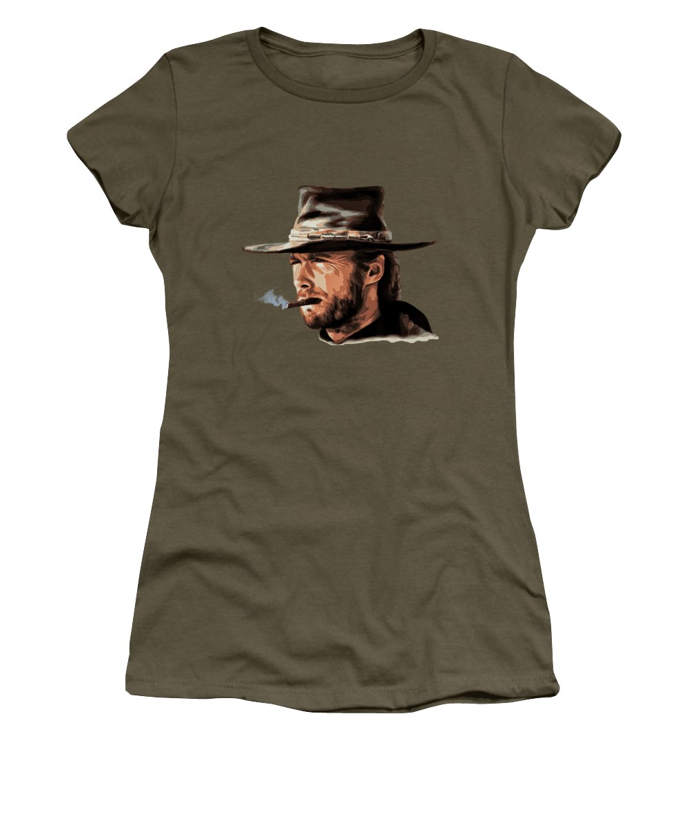 Western Women's T-Shirt featuring the digital art Clint by Andrzej Szczerski