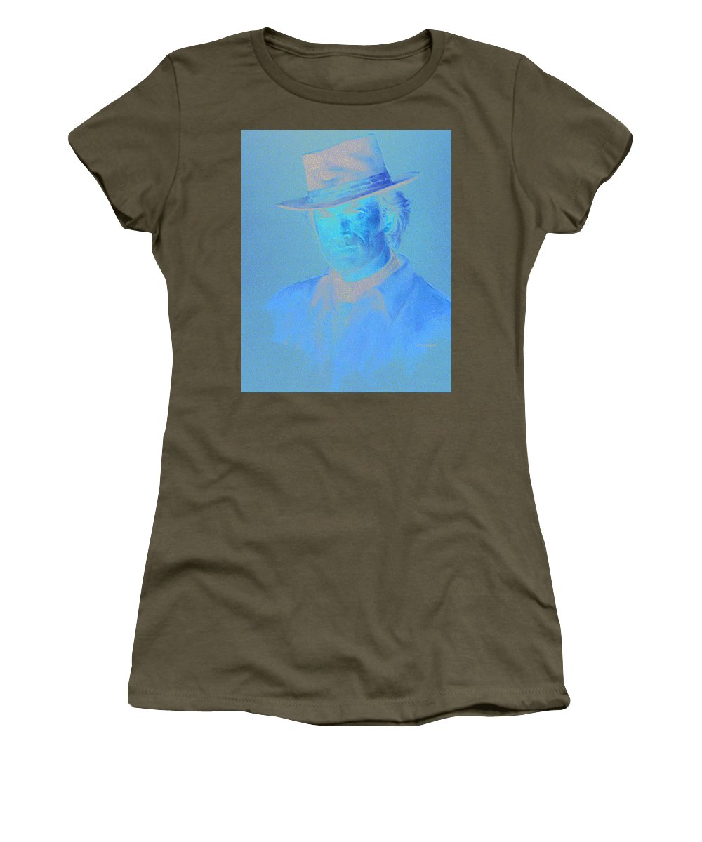 Clint Eastwood Portrait Women's T-Shirt (Athletic Fit) featuring the pastel Clint Eastwood by Charles Vernon Moran