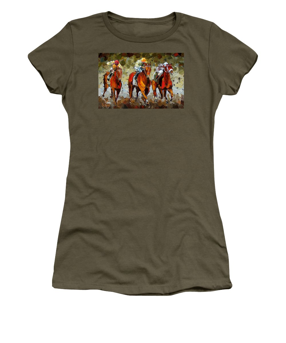 Horses Women's T-Shirt (Athletic Fit) featuring the painting Close Race by Debra Hurd