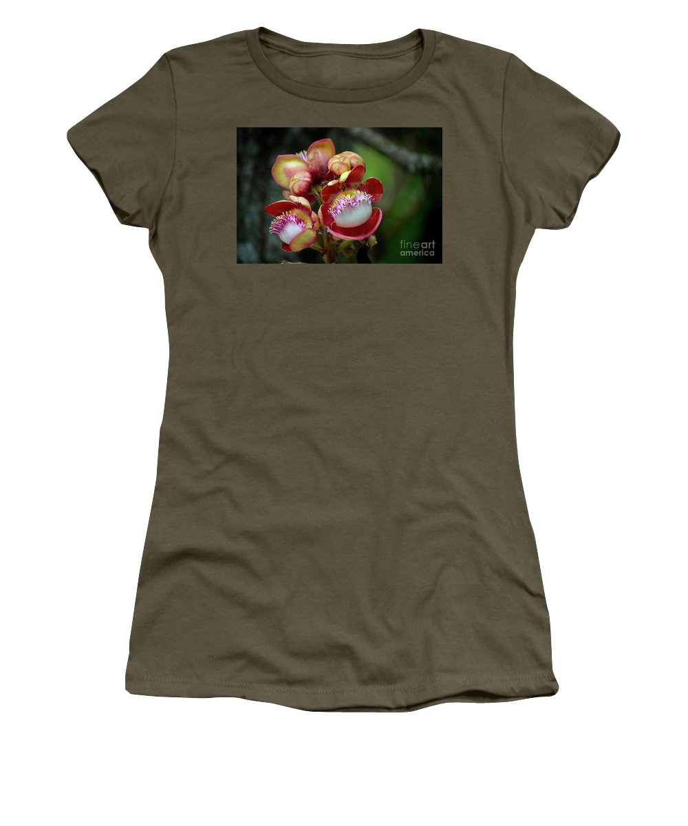 Flower Women's T-Shirt (Athletic Fit) featuring the photograph Close-up Macro Of Flower And Fruit Of Cannonball Tree by Imran Ahmed