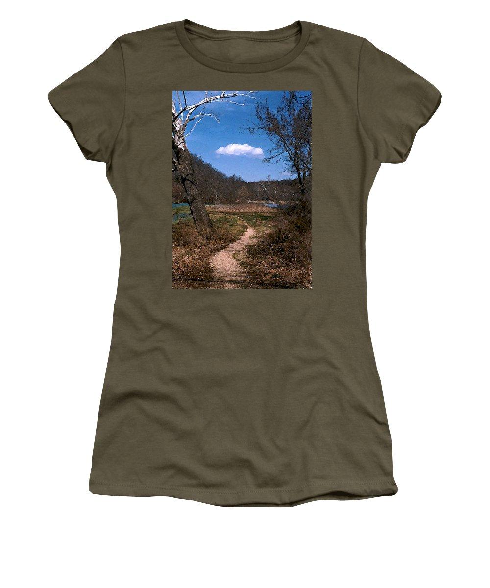 Landscape Women's T-Shirt (Athletic Fit) featuring the photograph Cloud Destination by Steve Karol