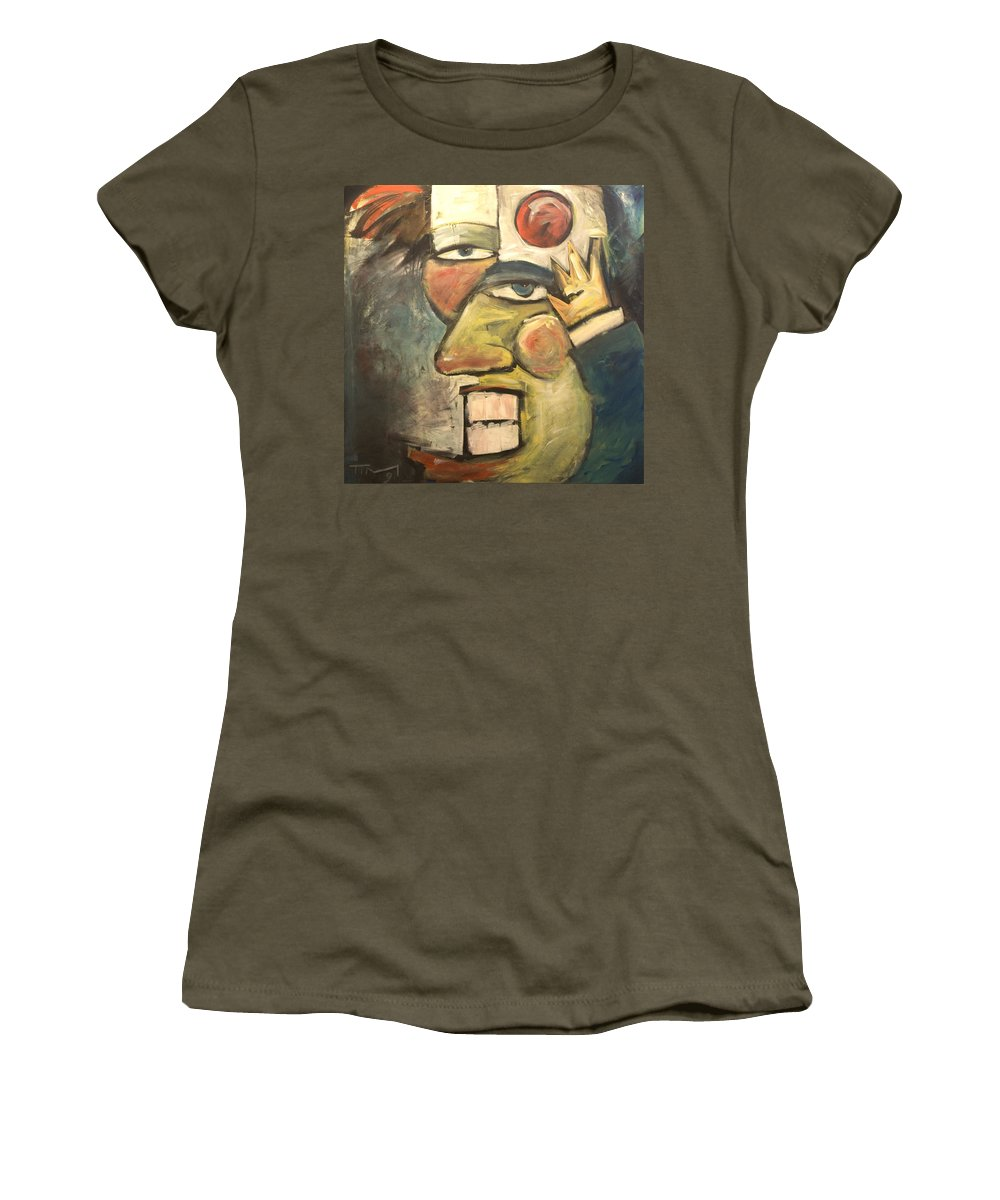 Clown Women's T-Shirt featuring the painting Clown Painting by Tim Nyberg