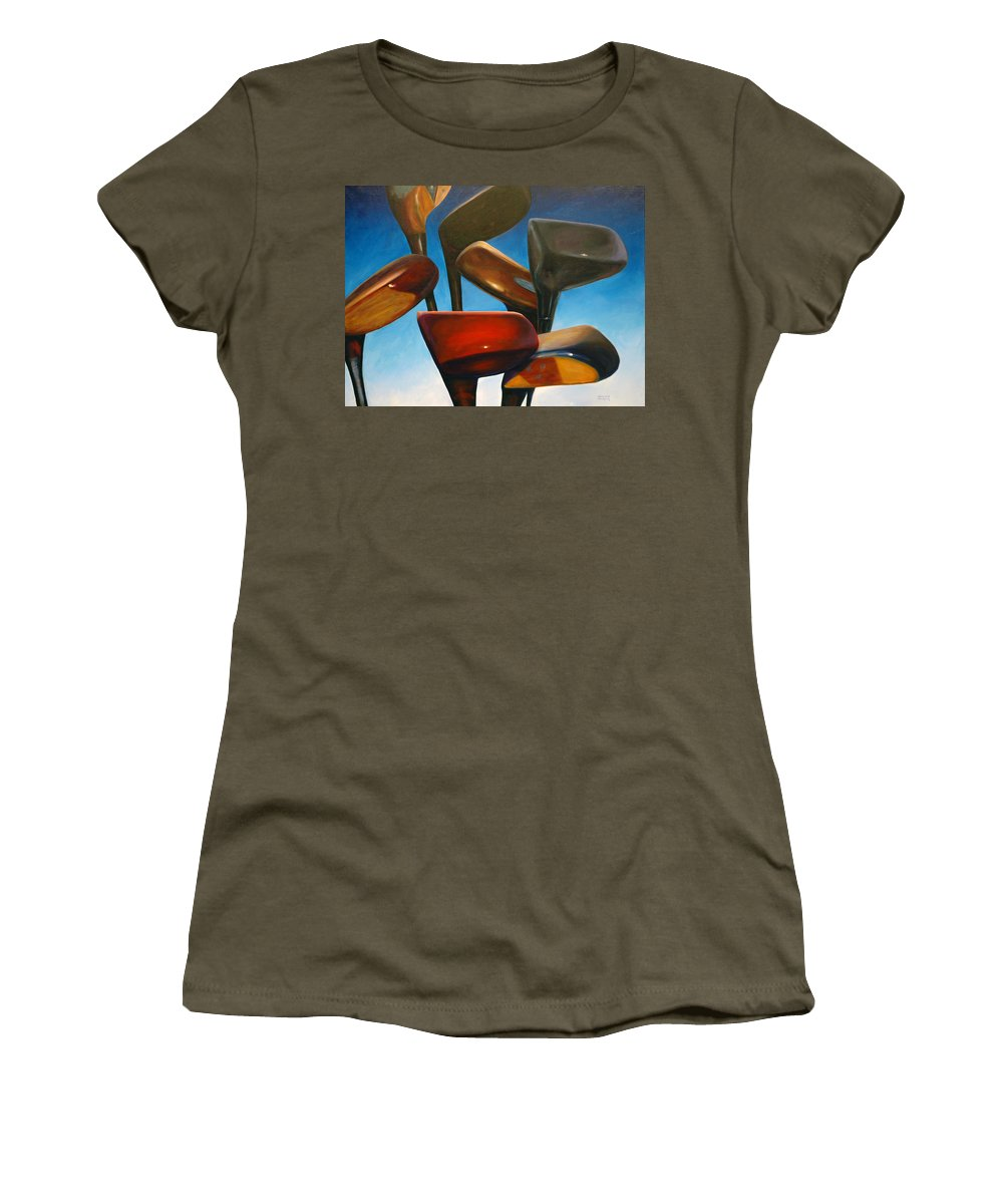 Golf Clubs Brown Women's T-Shirt featuring the painting Clubs Rising by Shannon Grissom
