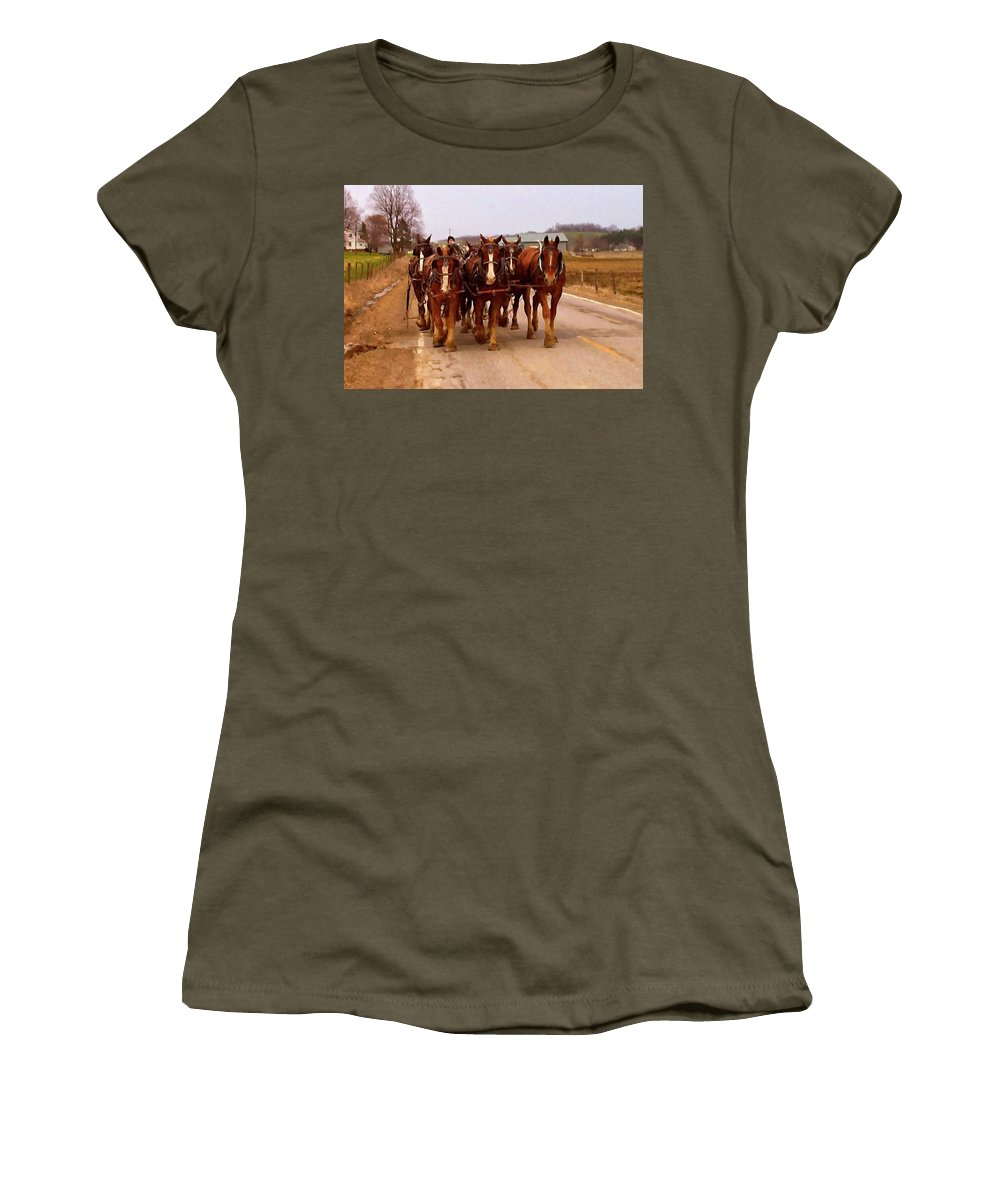 Clydesdale Horse Women's T-Shirt featuring the digital art Clydesdale Amish Plow Team by Chris Flees