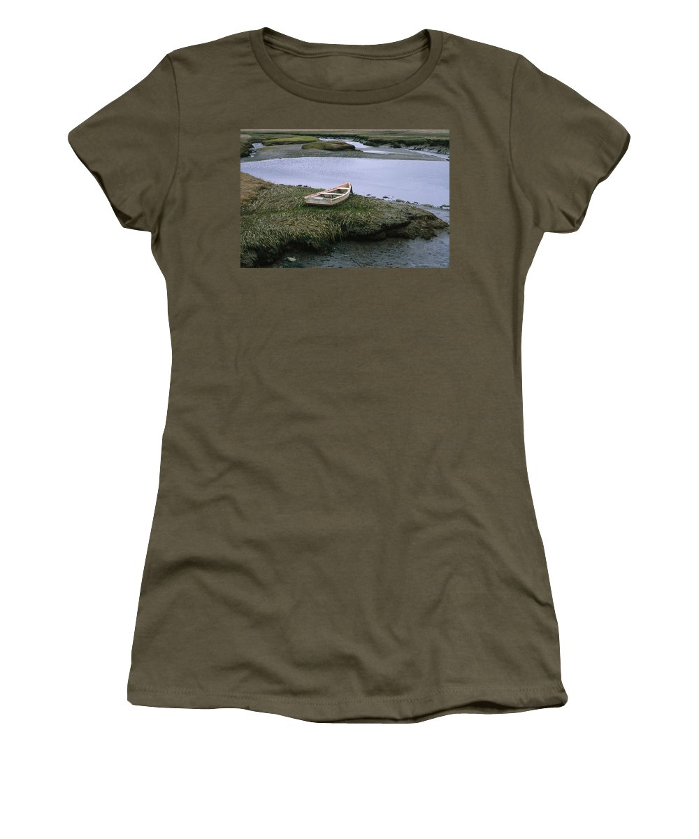 Landscape New England Marsh Row Boat Rye Harbor Women's T-Shirt (Athletic Fit) featuring the photograph Cnrf0503 by Henry Butz