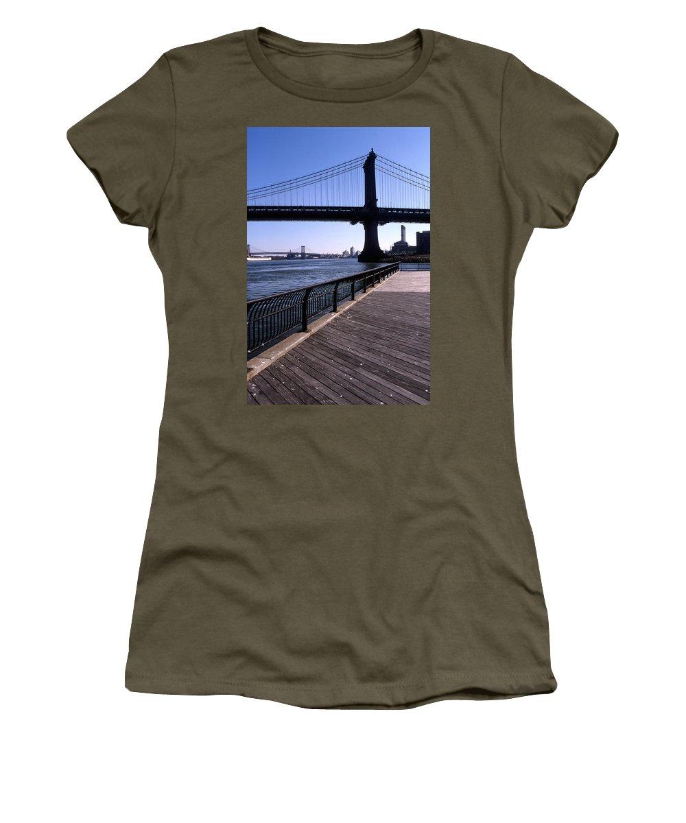 Landscape Manhattan Bridge New York City Women's T-Shirt featuring the photograph Cnrg0402 by Henry Butz