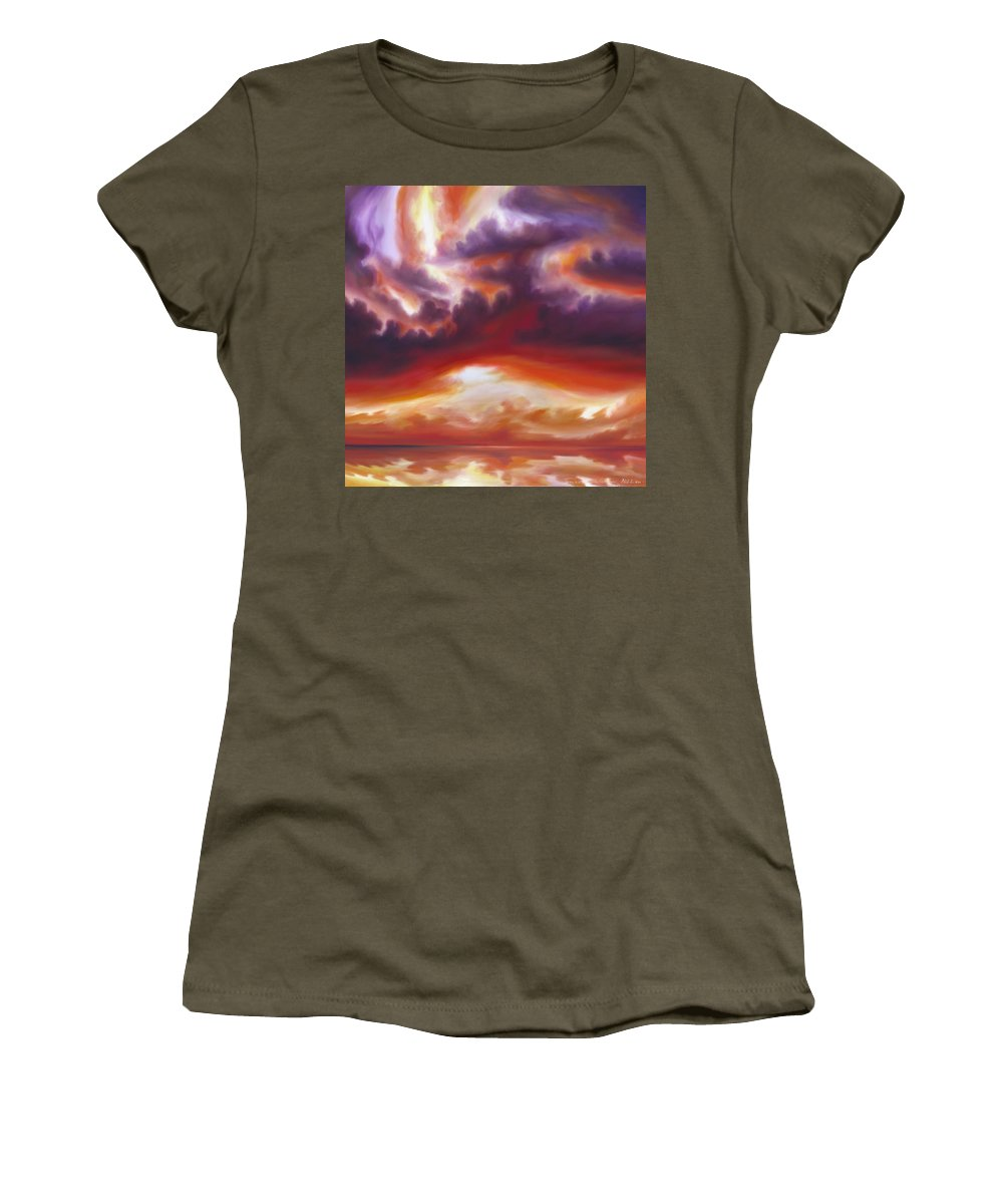 Skyscape Women's T-Shirt featuring the painting Coastline by James Christopher Hill