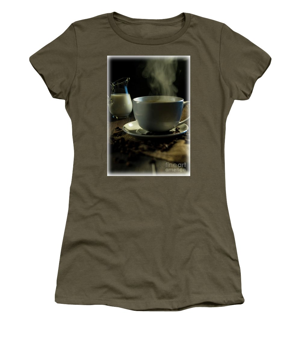 Brown Women's T-Shirt featuring the photograph Coffee And Cream by Deborah Klubertanz
