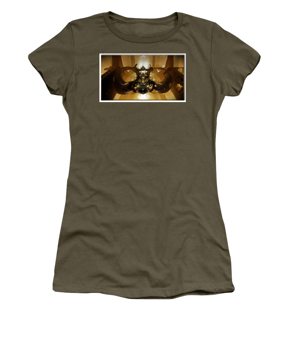 Mandelbulb Women's T-Shirt (Athletic Fit) featuring the digital art Coffee Glasses-looking-glass by Carroll MacDonald