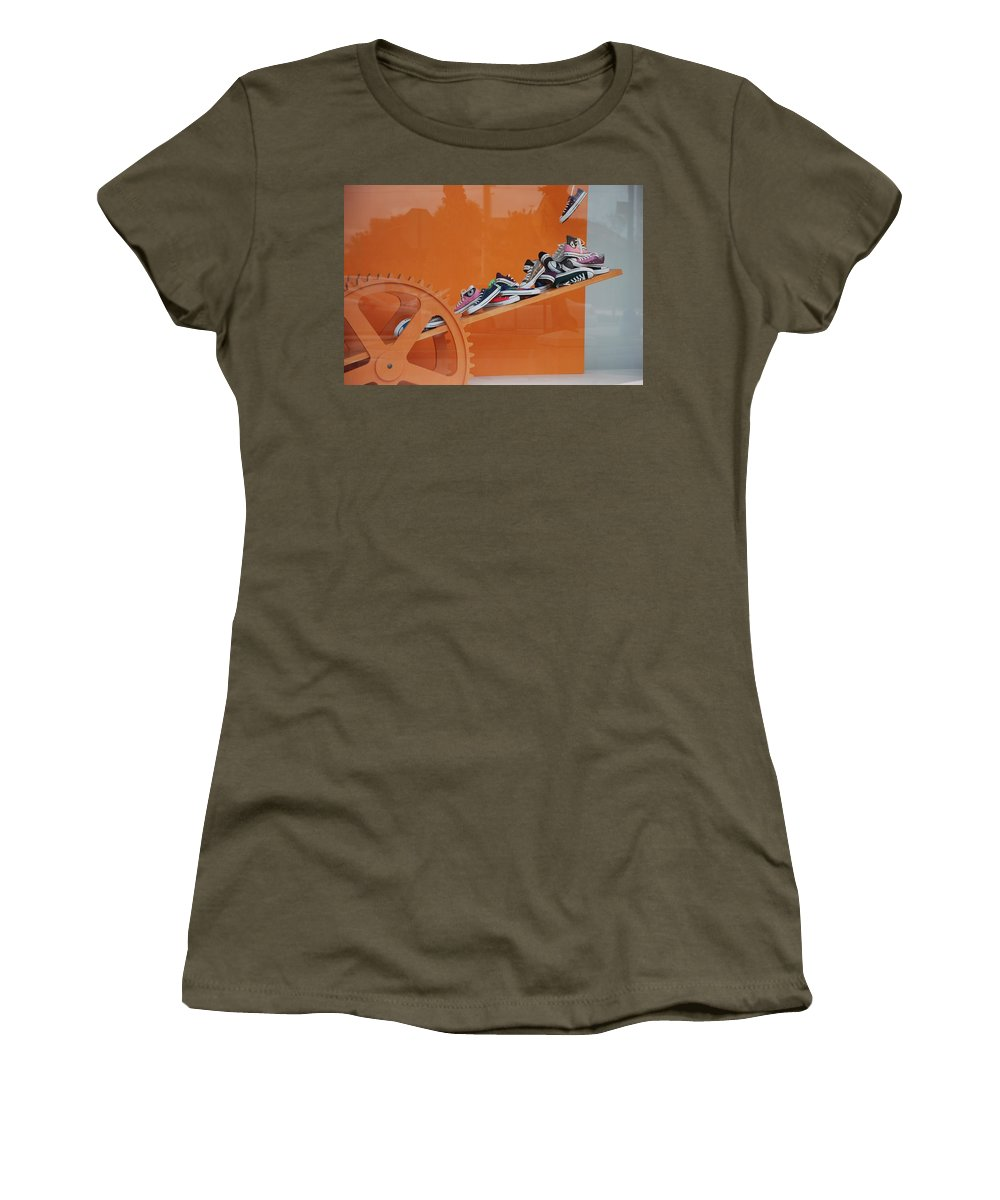 Orange Women's T-Shirt featuring the photograph Cogs N Converse by Rob Hans