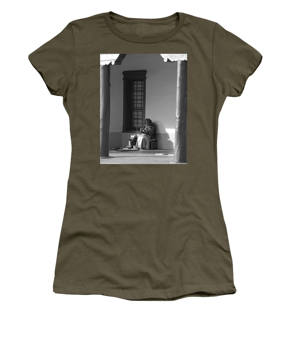 Southwestern Women's T-Shirt featuring the photograph Cold Native American Woman by Rob Hans