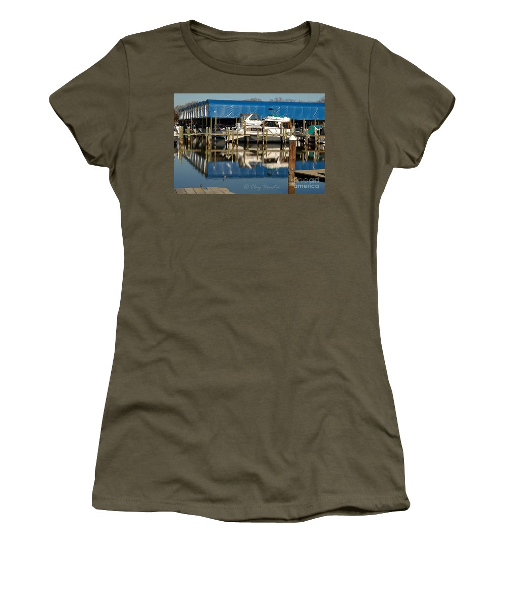 Clay Women's T-Shirt featuring the photograph Colonial Beach Marina by Clayton Bruster
