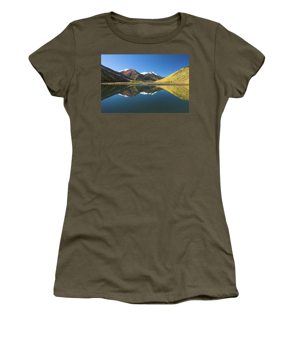 Colorado Women's T-Shirt featuring the photograph Colorado Reflections by Steve Stuller