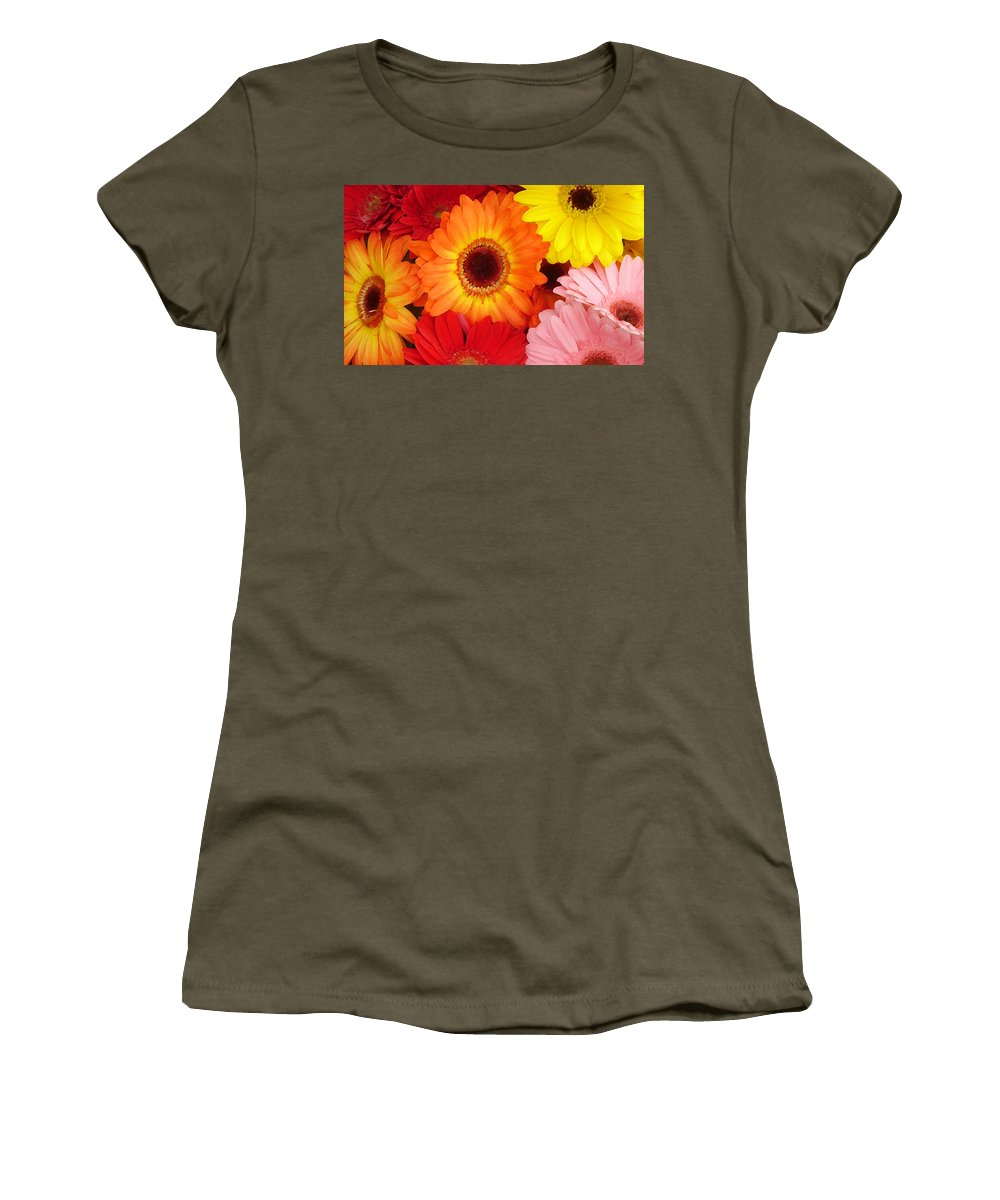 Gerber Daisy Women's T-Shirt (Athletic Fit) featuring the painting Colorful Gerber Daisies by Amy Vangsgard
