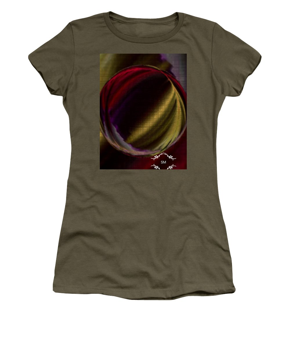 Color Marble Glass Technique Beauty Action Women's T-Shirt featuring the painting Colorful Glass Marble Art by Sheila Mcdonald