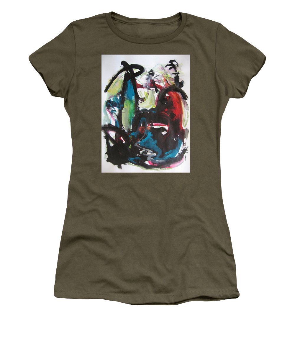 Abstract Paintings Women's T-Shirt featuring the painting Colorful Landscape1112 by Seon-Jeong Kim