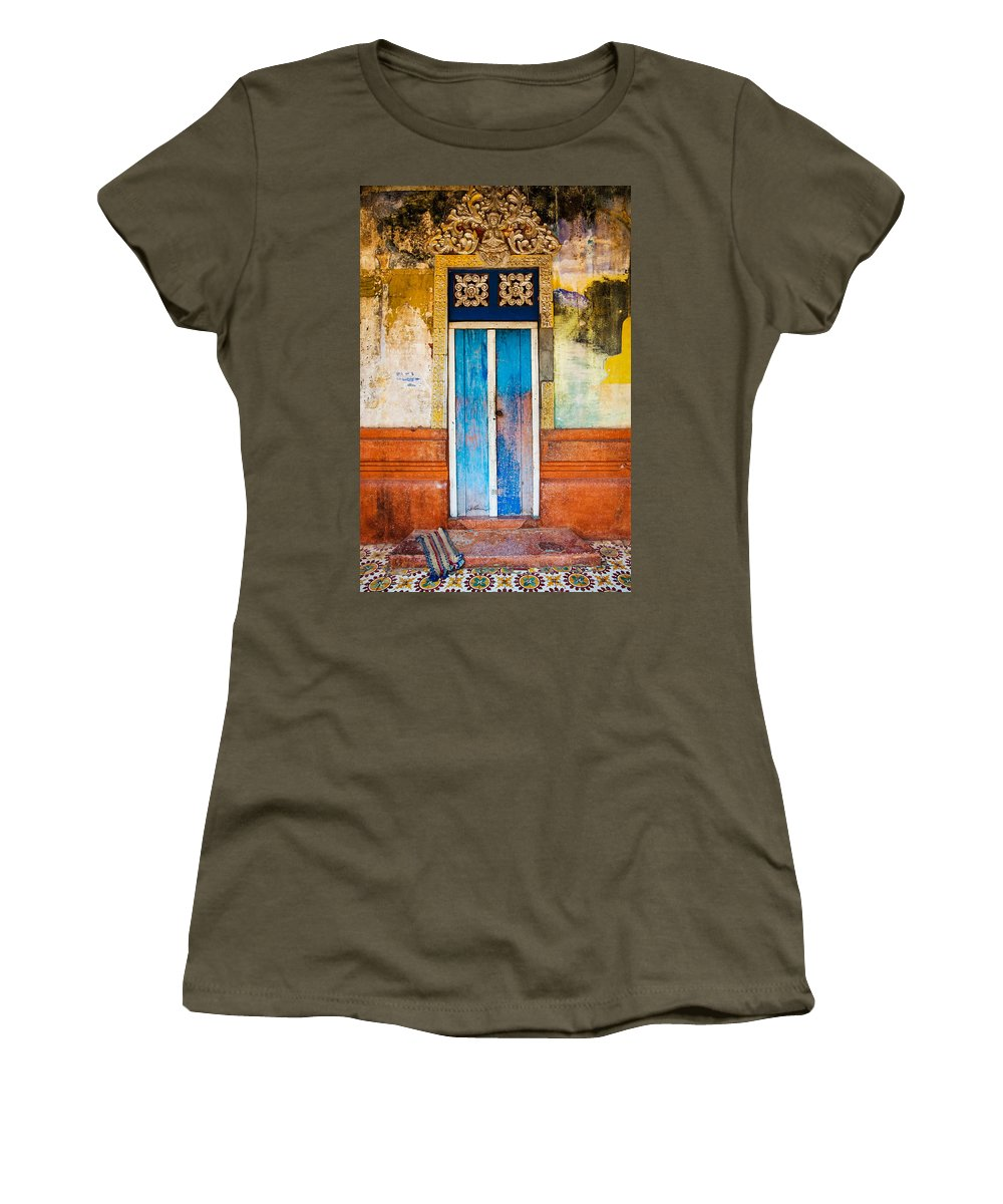 Cambodia Women's T-Shirt (Athletic Fit) featuring the photograph Colourful Door by Dave Bowman