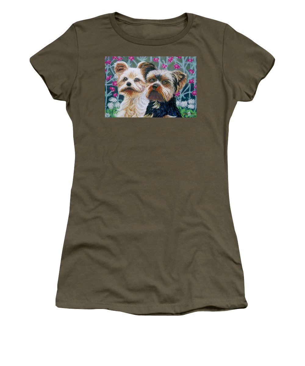 Terrier Women's T-Shirt featuring the painting Come Play With Me Close-up by Minaz Jantz