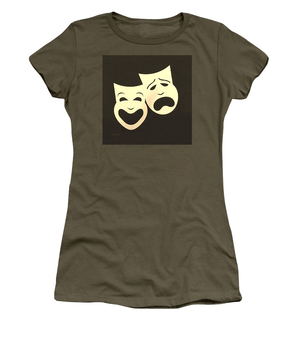 Comedy And Tragedy Women's T-Shirt featuring the photograph Comedy N Tragedy Neg Sepia 1 by Rob Hans