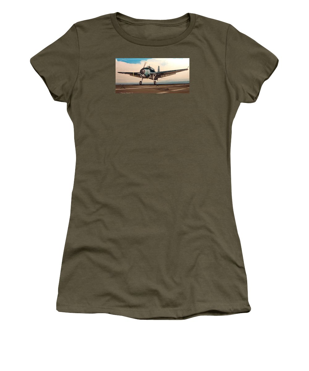 Painting Women's T-Shirt (Athletic Fit) featuring the painting Coming Aboard by Marc Stewart