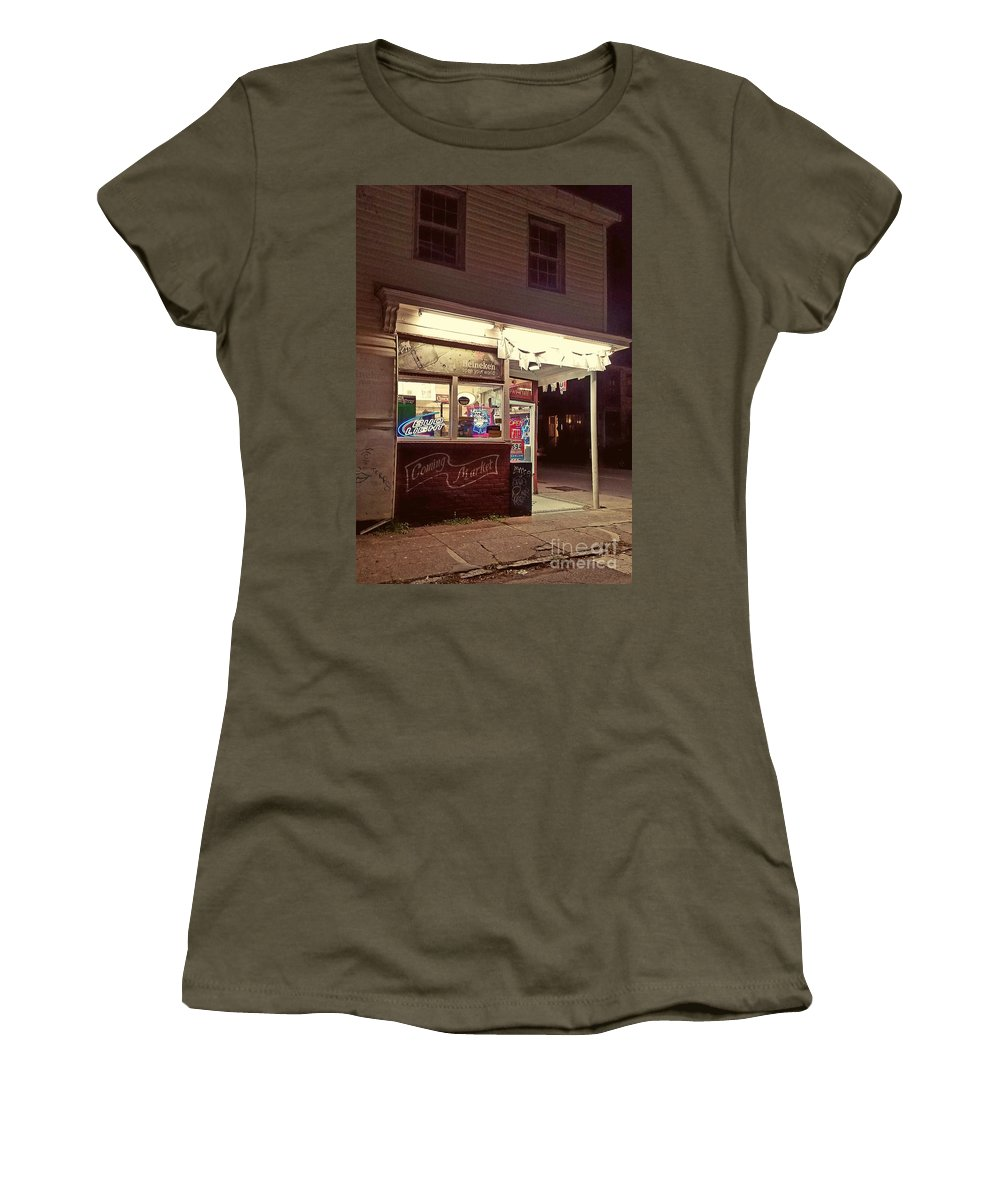 Grocery Store Women's T-Shirt featuring the photograph Coming Street Night Life by Amy Regenbogen