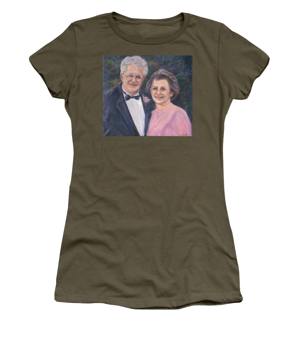 Portrait Women's T-Shirt featuring the painting Commissioned Portrait Painting by Quin Sweetman