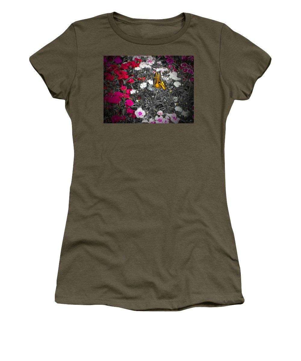 Butterfly Women's T-Shirt featuring the photograph Competing Colors by Douglas Barnard