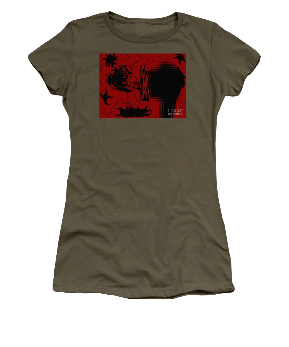 Red Women's T-Shirt (Athletic Fit) featuring the digital art Confusion by Charleen Treasures