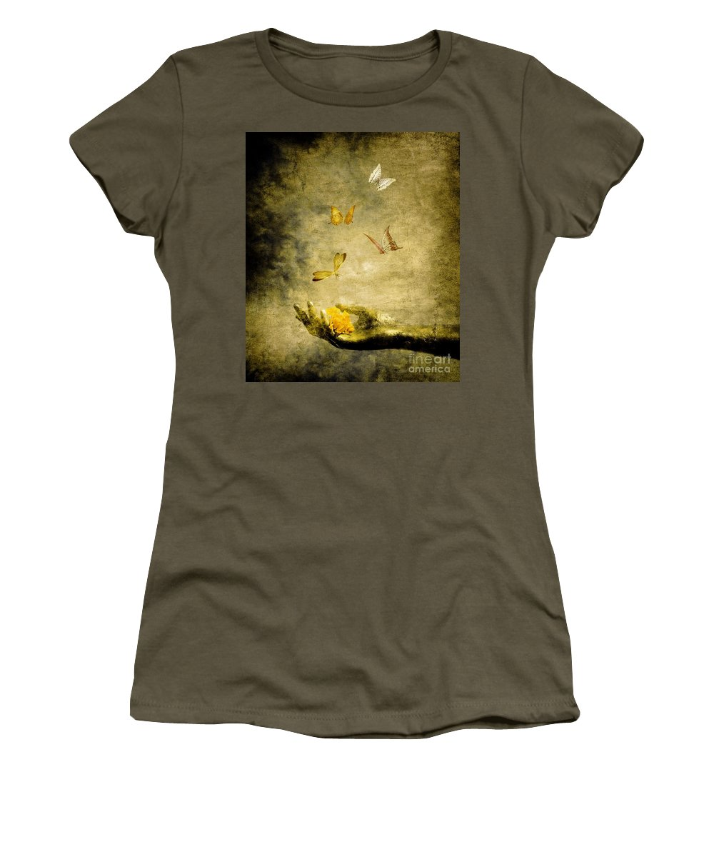 Inspirational Women's T-Shirt (Athletic Fit) featuring the painting Connect by Jacky Gerritsen