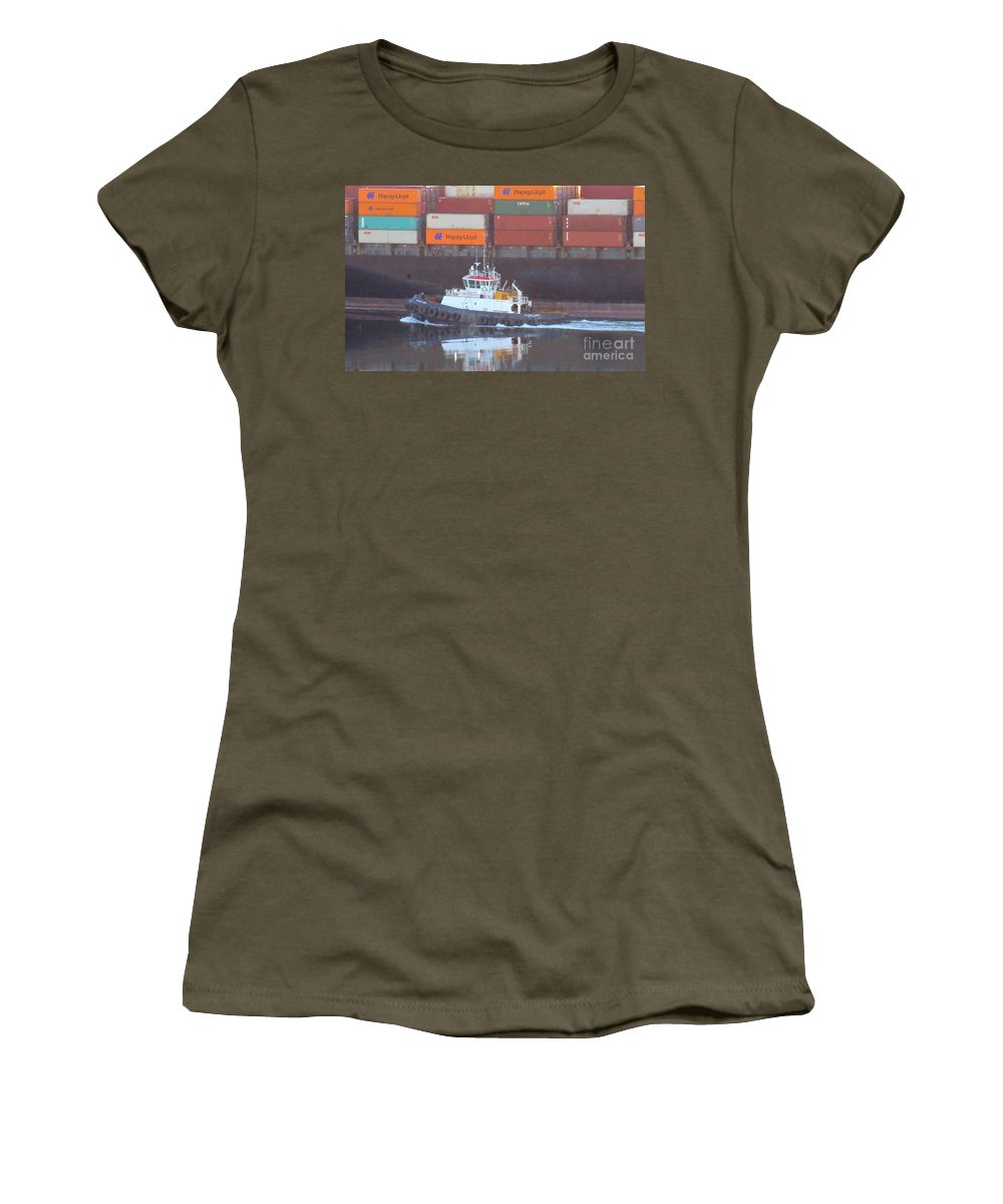Container Ship And Tug Women's T-Shirt featuring the photograph Container Ship And Tug by John Malone