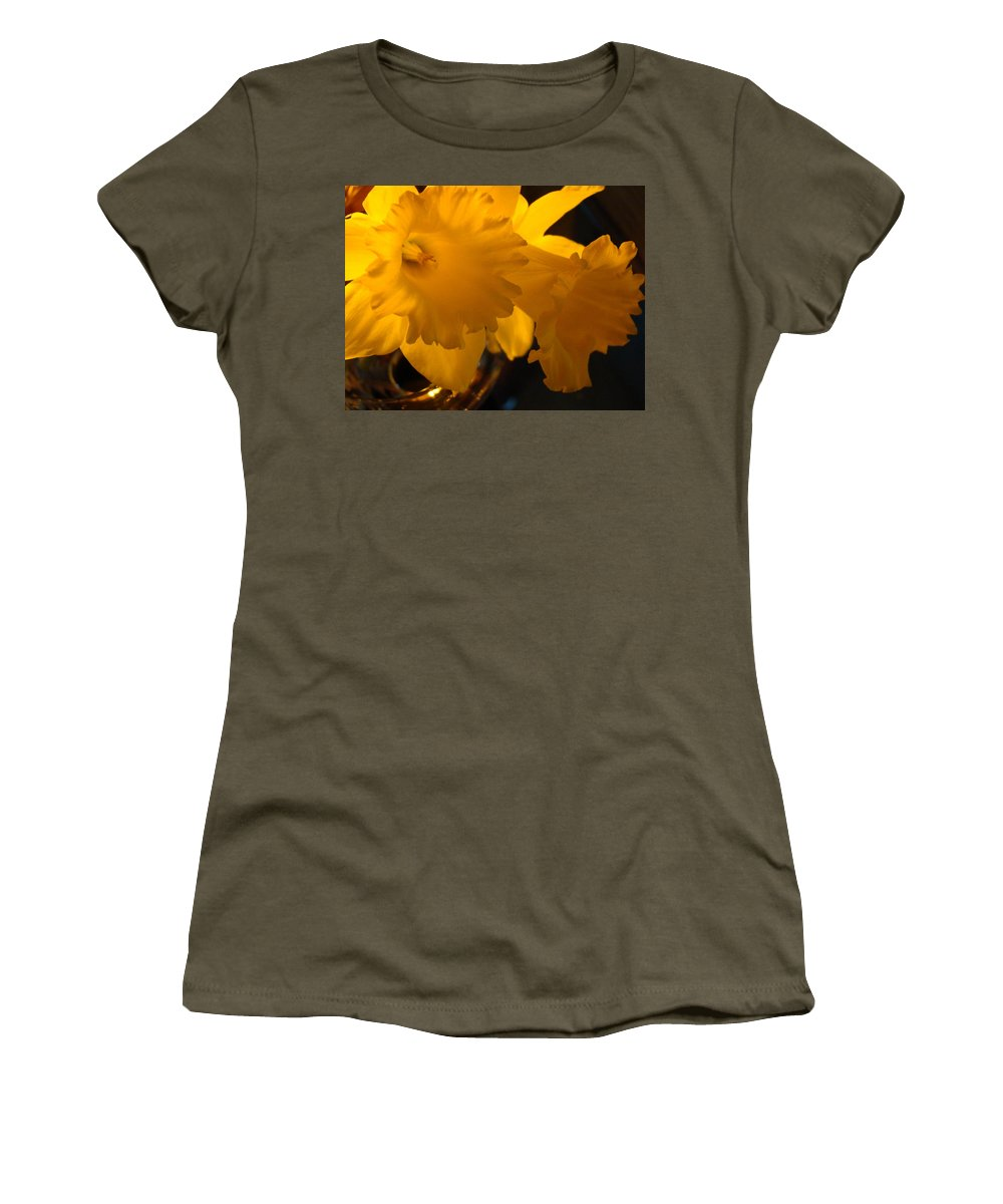 �daffodils Artwork� Women's T-Shirt (Athletic Fit) featuring the photograph Contemporary Flower Artwork 10 Daffodil Flowers Evening Glow by Baslee Troutman