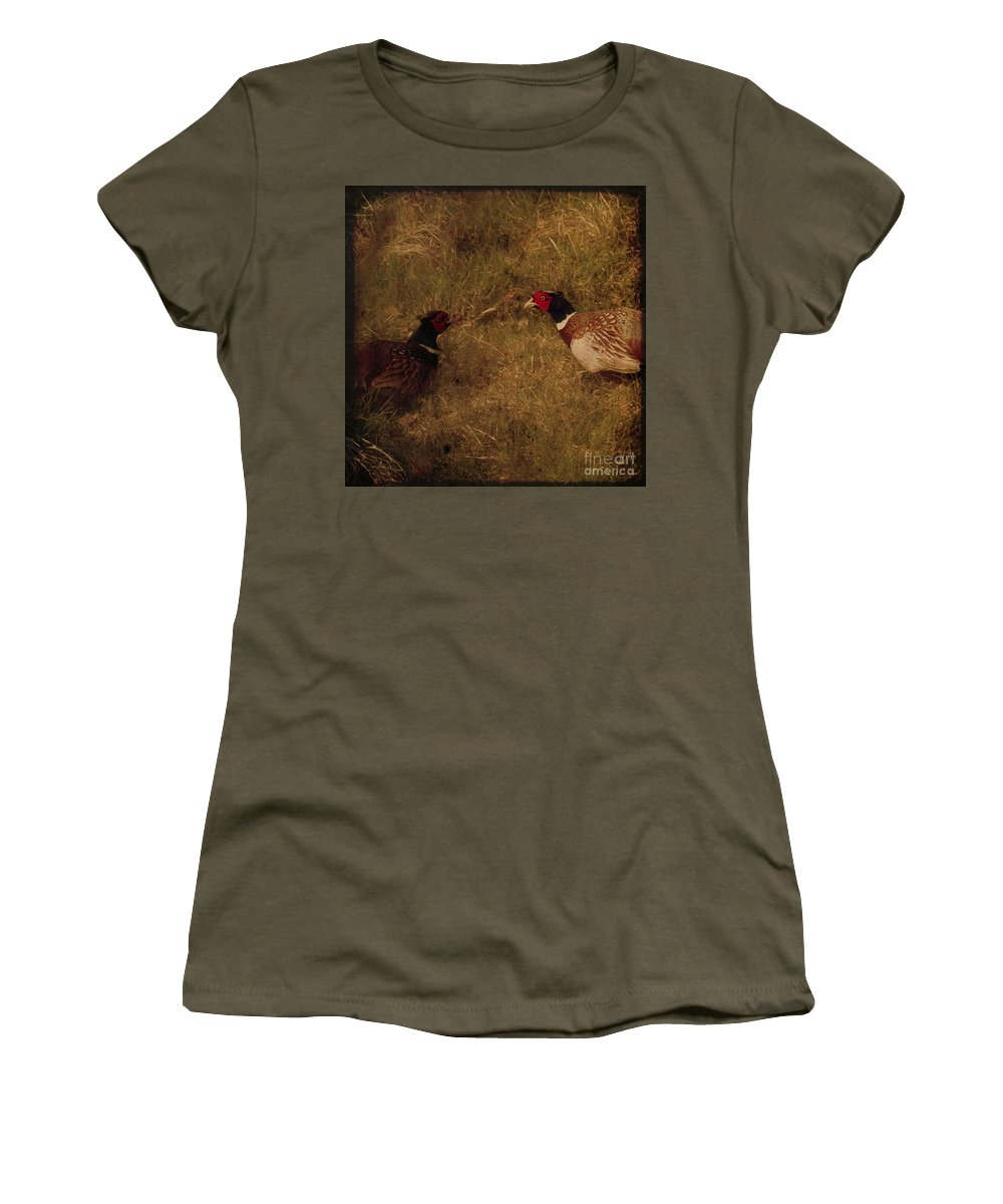 Pheasant Women's T-Shirt featuring the photograph Conversations by Angel Ciesniarska