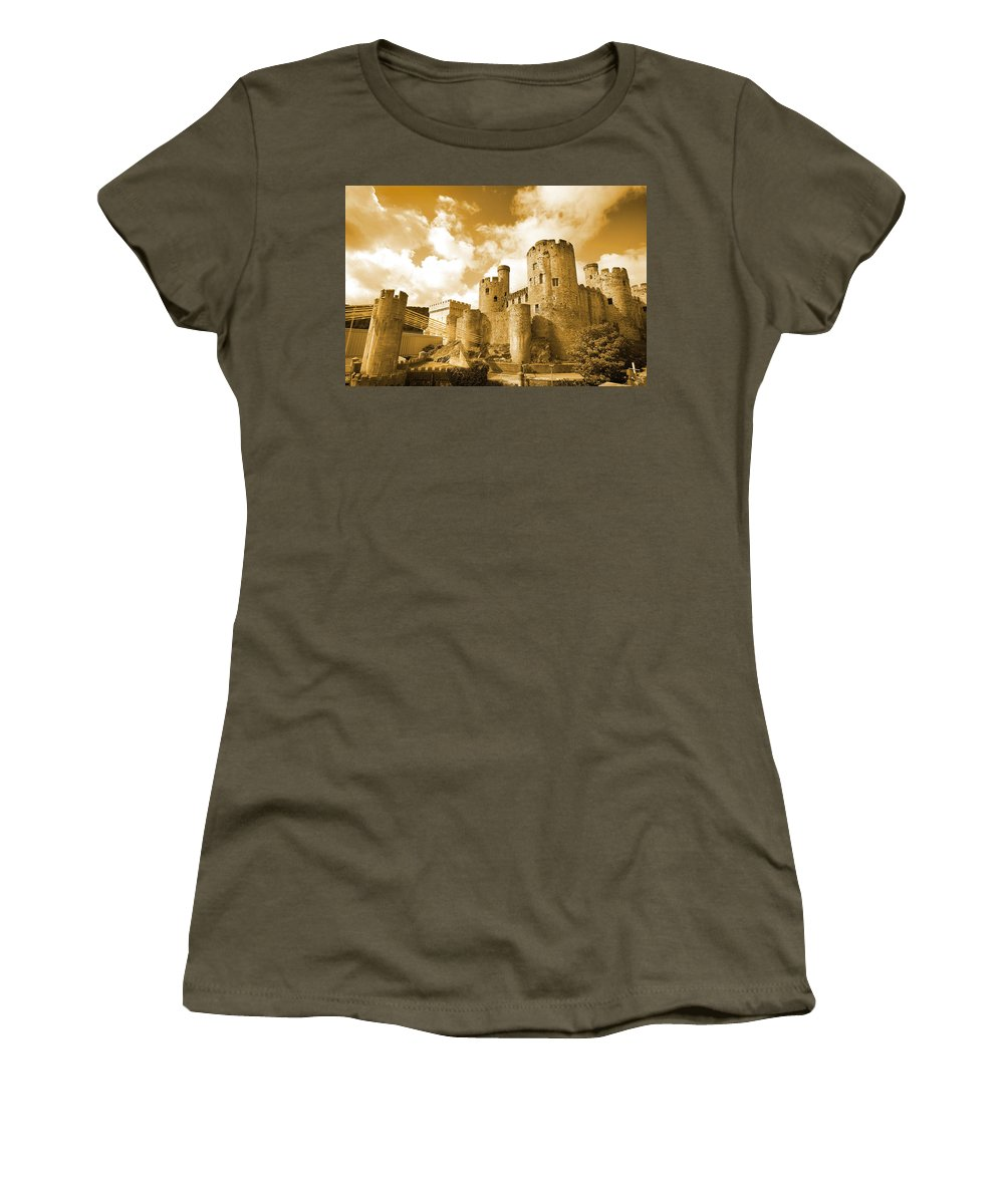 Castle Women's T-Shirt (Athletic Fit) featuring the photograph Conwy Castle And The Telford Suspension Bridge North Wales by Mal Bray