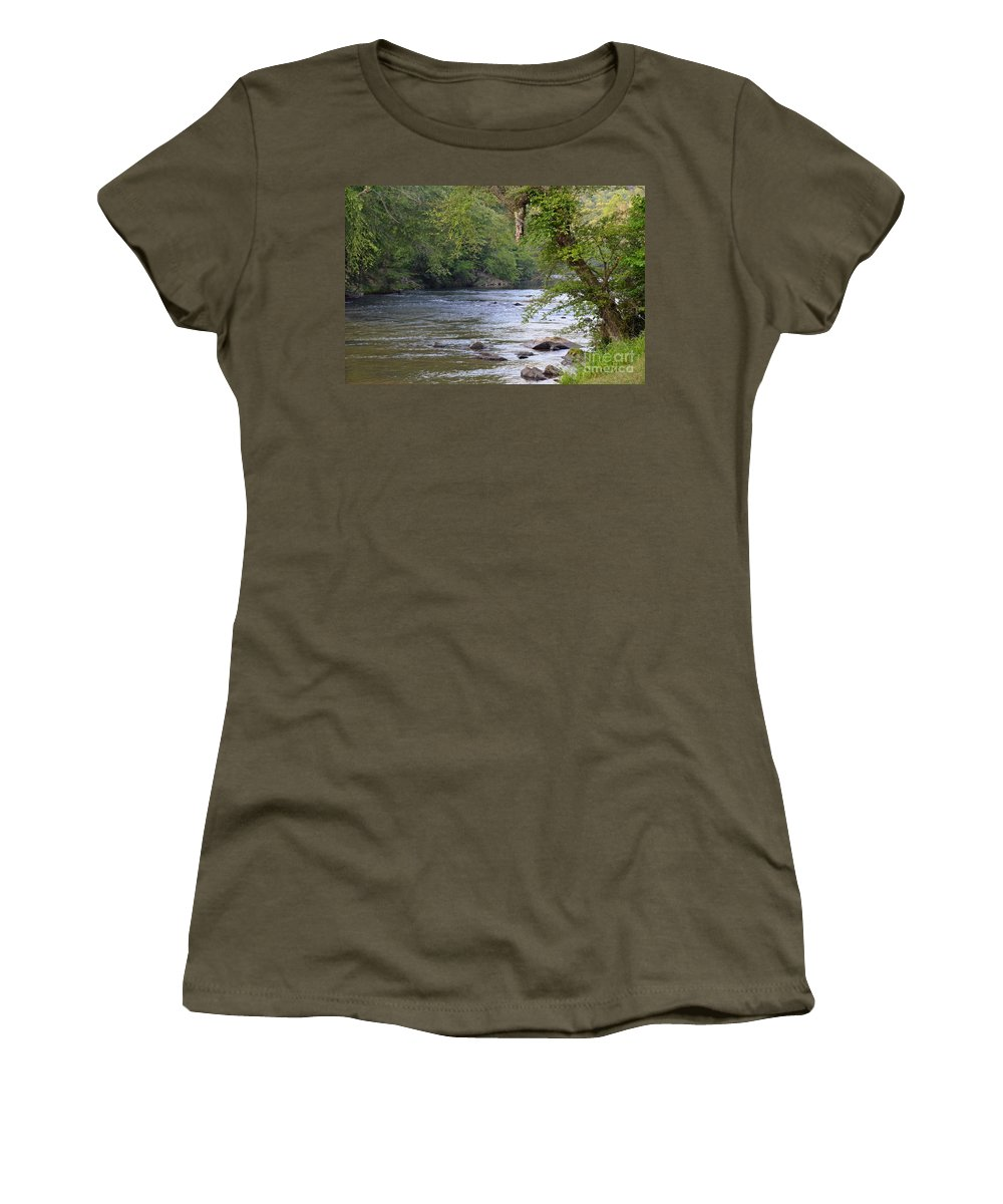 River Women's T-Shirt (Athletic Fit) featuring the photograph Coosawattee River by Carol Bradley