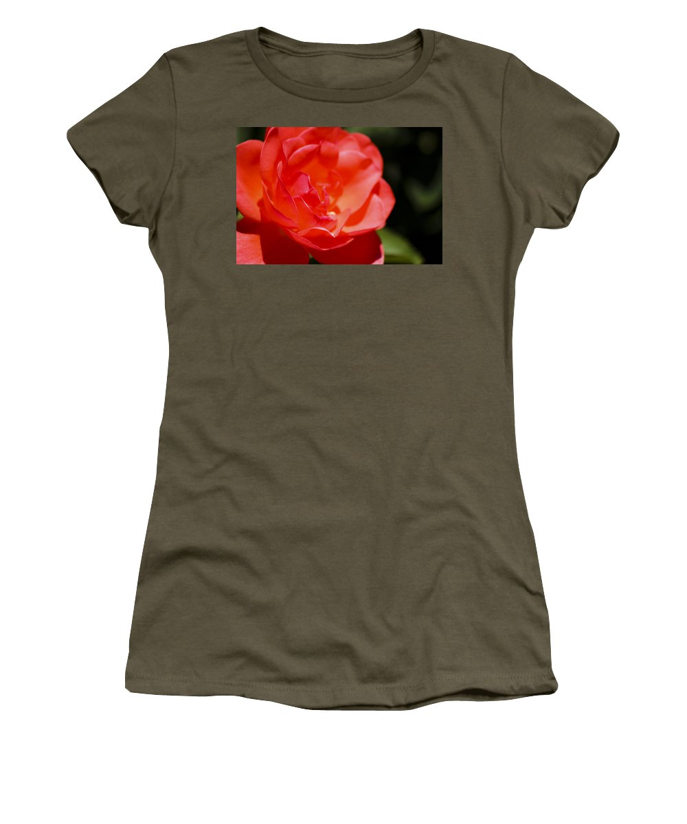 Sunshine Women's T-Shirt featuring the photograph Coral Rose Focus Left by Teresa Mucha
