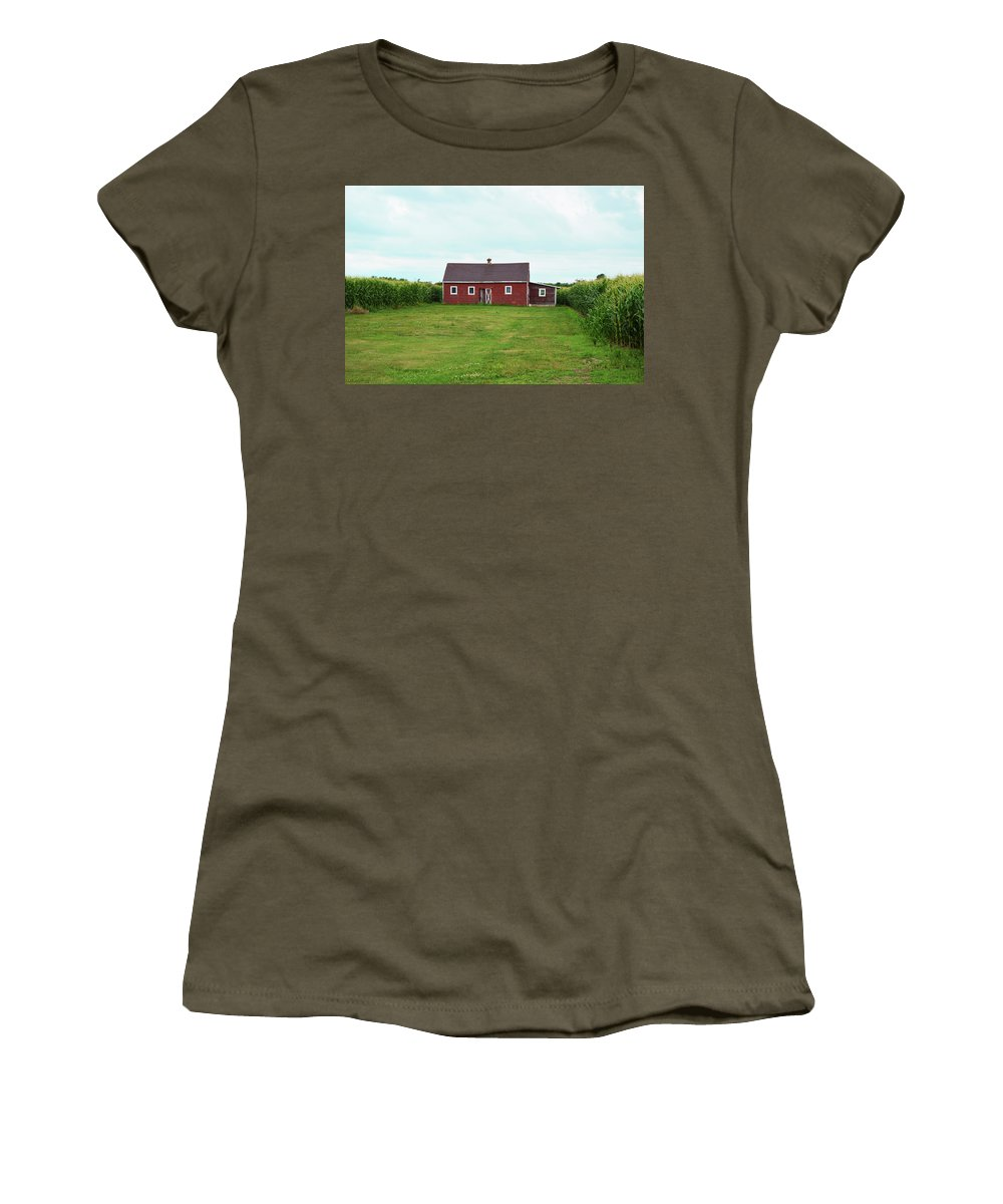 Red Barn Women's T-Shirt (Athletic Fit) featuring the photograph Red Barn In Field by Steven Covieo